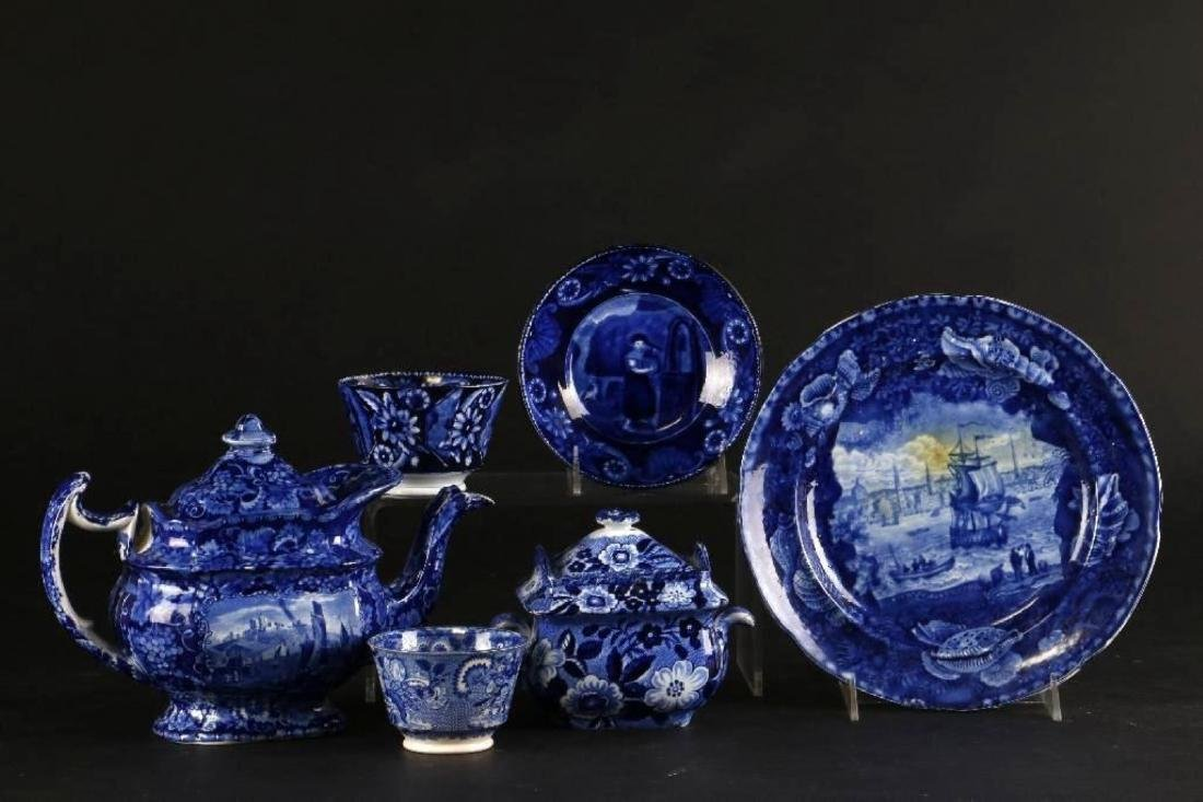 6 STAFFORDSHIRE BLUE & WHITE TRANSFER PRINTED TABLEWARE - 2