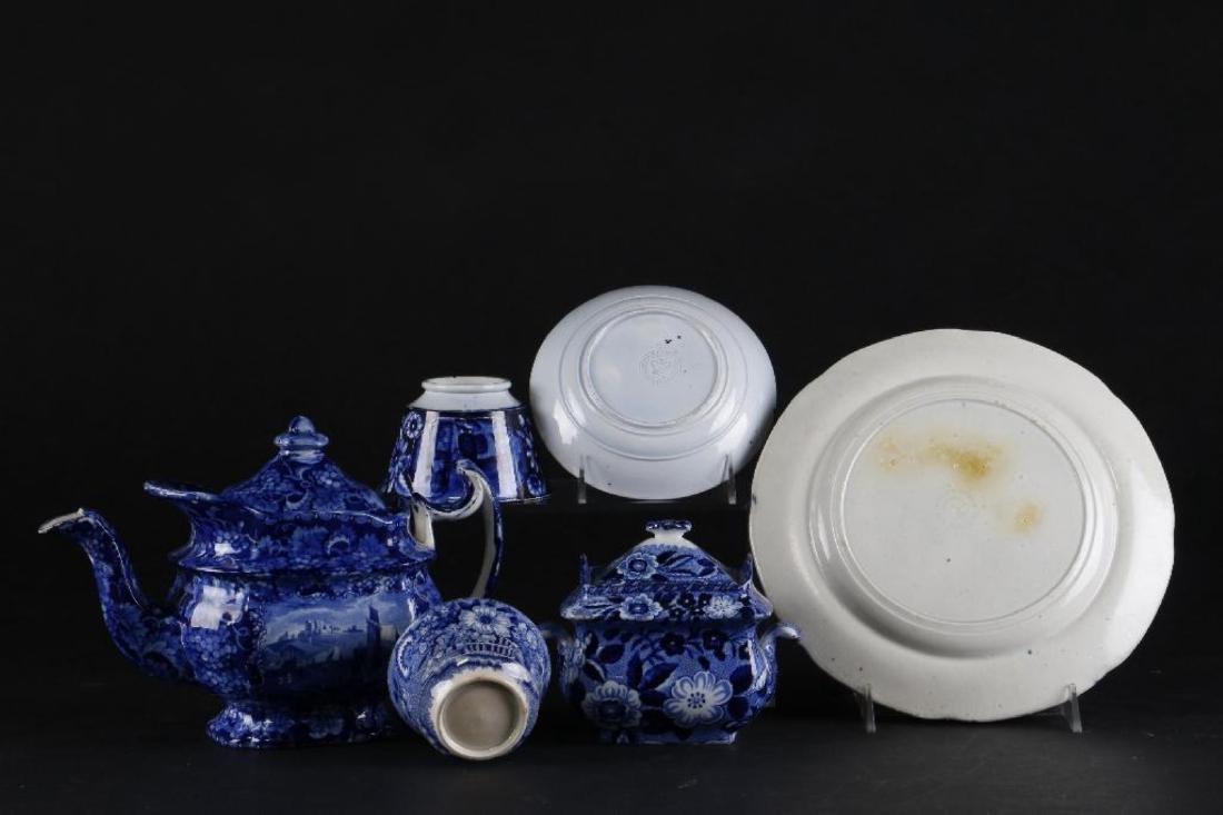 6 STAFFORDSHIRE BLUE & WHITE TRANSFER PRINTED TABLEWARE - 5
