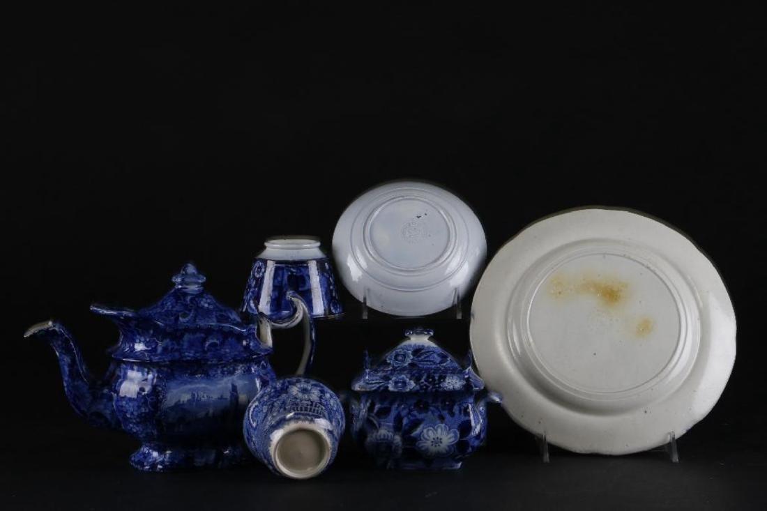 6 STAFFORDSHIRE BLUE & WHITE TRANSFER PRINTED TABLEWARE - 6