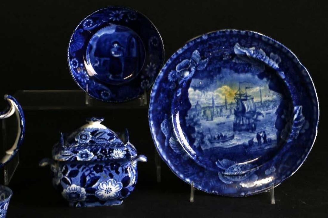 6 STAFFORDSHIRE BLUE & WHITE TRANSFER PRINTED TABLEWARE - 8
