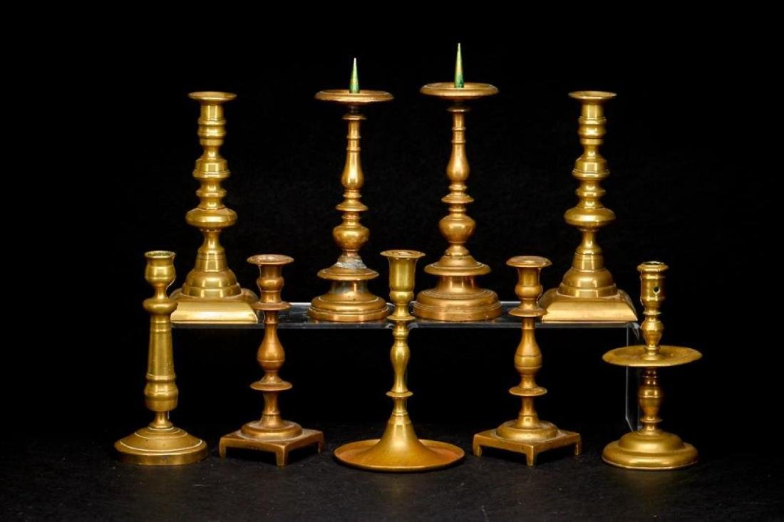 3 PAIRS OF BRASS CANDLESTICKS & 3 SINGLE CANDLESTICKS