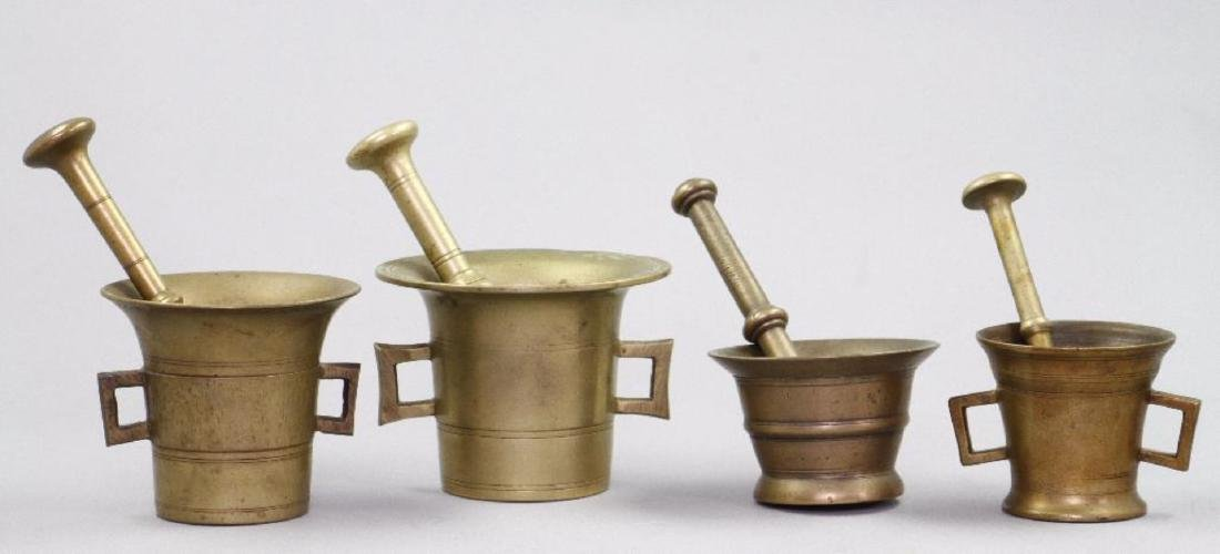 4 CAST BRASS OR BRONZE PESTLES AND MORTARS