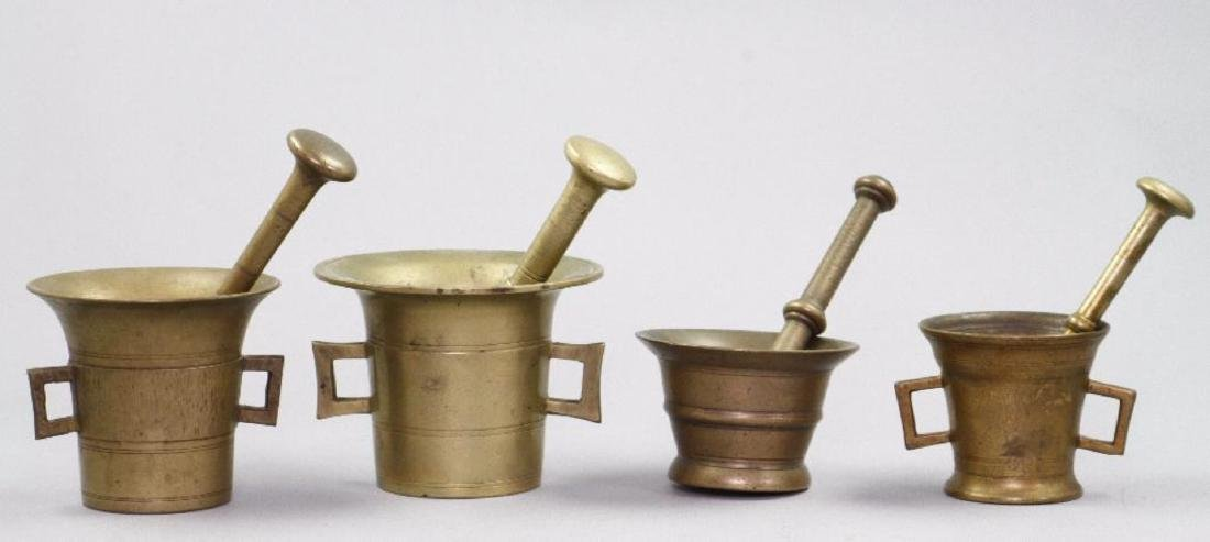 4 CAST BRASS OR BRONZE PESTLES AND MORTARS - 2