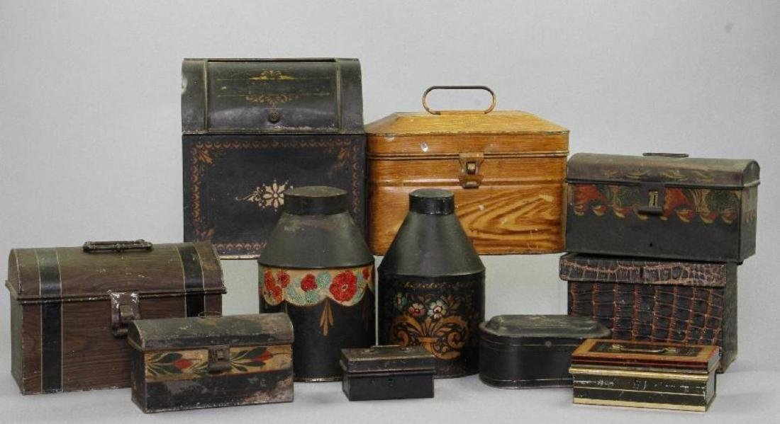 11 PAINT DECORATED TOLE CONTAINERS