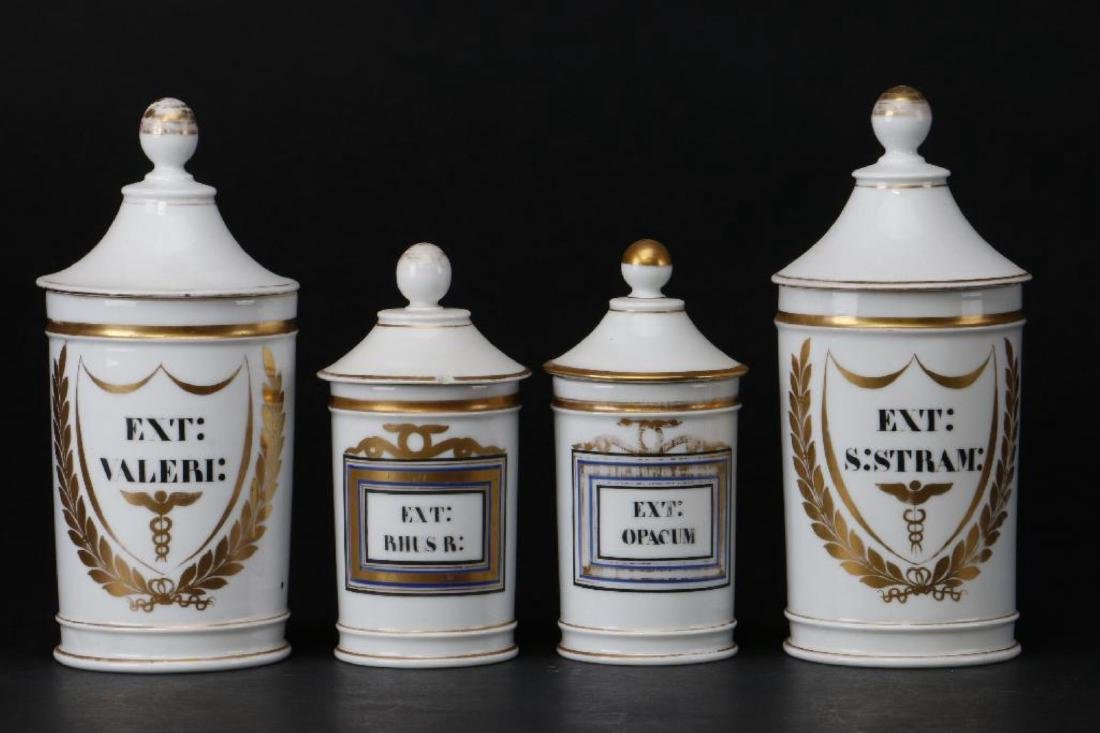 4 FRENCH PORCELAIN APOTHECARY JARS