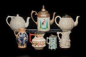 7 VICTORIAN STONEWARE OR POTTERY TEAPOTS & PITCHERS