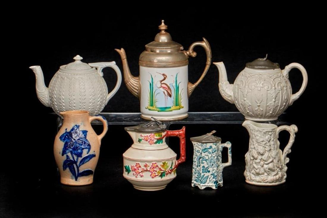 7 VICTORIAN STONEWARE OR POTTERY TEAPOTS & PITCHERS - 2