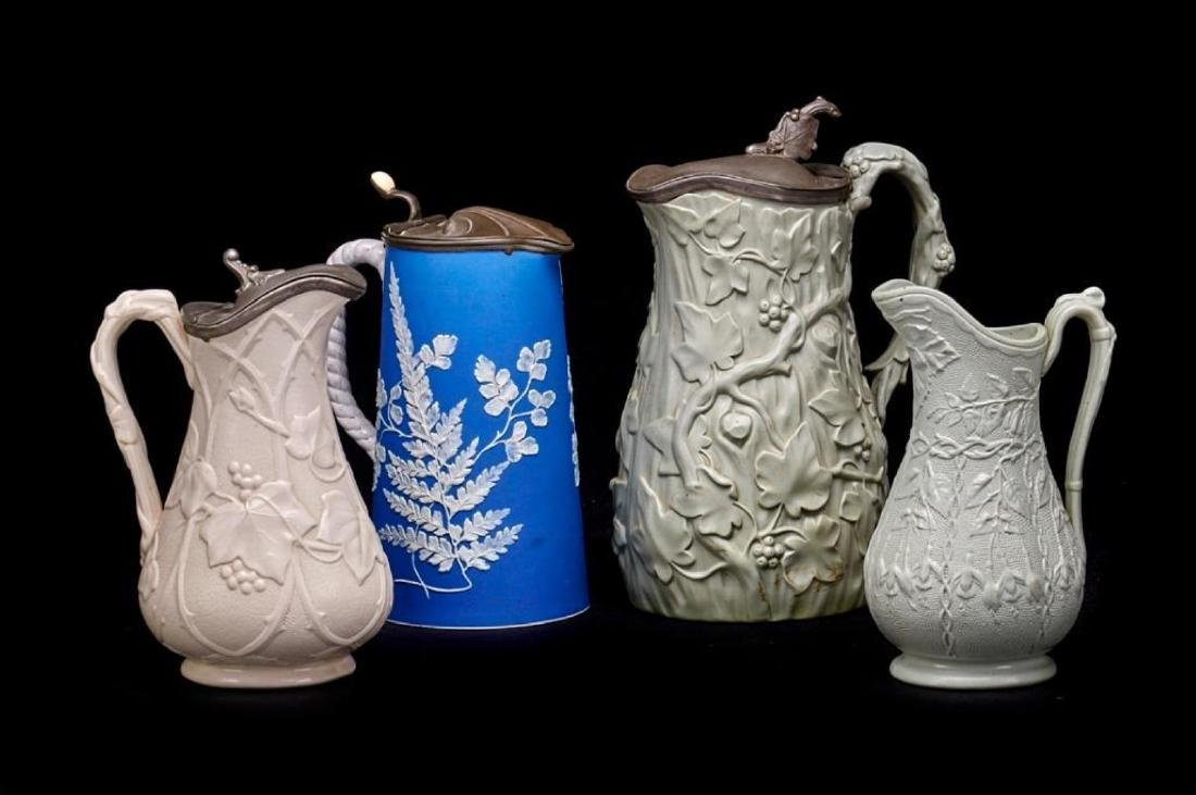 4 ENGLISH STONEWARE PITCHERS