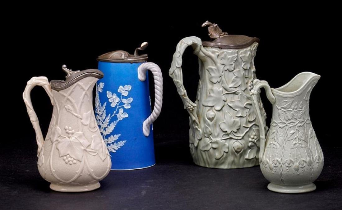 4 ENGLISH STONEWARE PITCHERS - 2