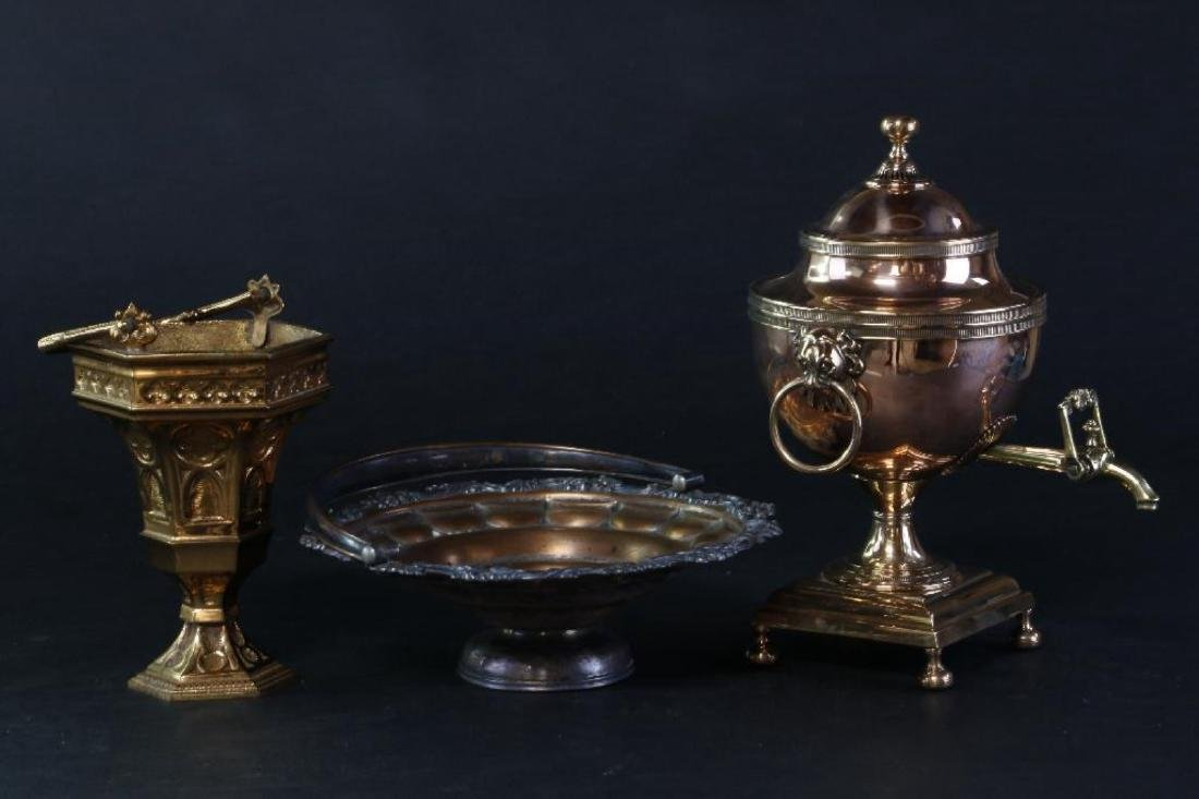 REGENCY COPPER URN, SHEFFIELD BASKET & BRASS SITULA - 4