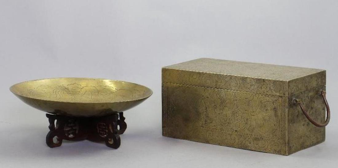 SOUTH EAST ASIAN CAST BRASS BOX & CHINESE BRASS PLATE