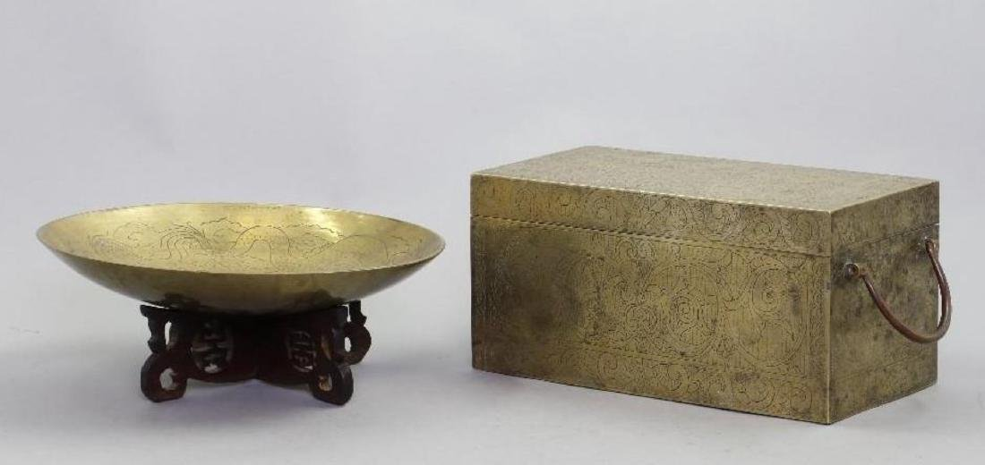 SOUTH EAST ASIAN CAST BRASS BOX & CHINESE BRASS PLATE - 2