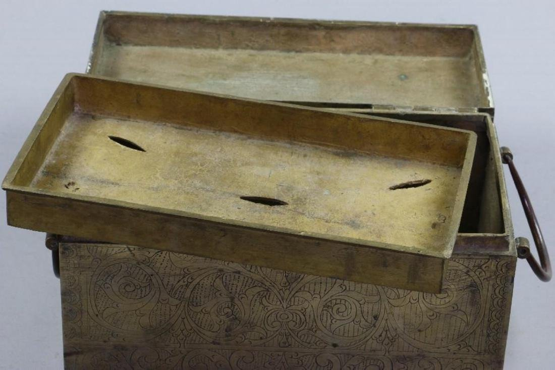 SOUTH EAST ASIAN CAST BRASS BOX & CHINESE BRASS PLATE - 7