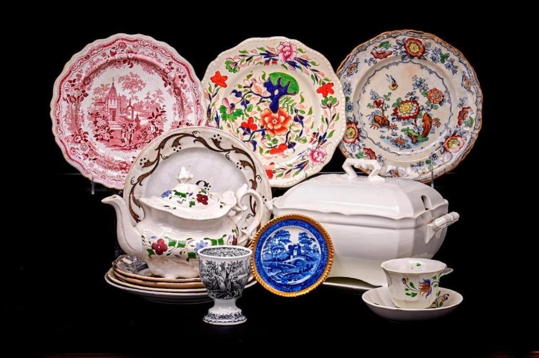 15 PIECES STAFFORDSHIRE & OTHER ENGLISH POTTERY