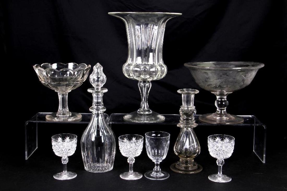 9 PIECES OF AMERICAN OR ENGLISH CUT GLASS TABLE WARE