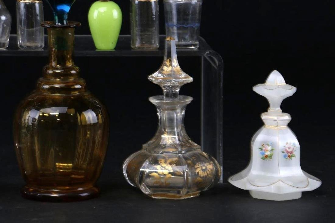 11 EUROPEAN COLORED OR CLEAR GLASS SCENT BOTTLES - 3