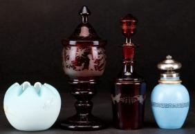 4 PIECES EUROPEAN COLORED GLASS