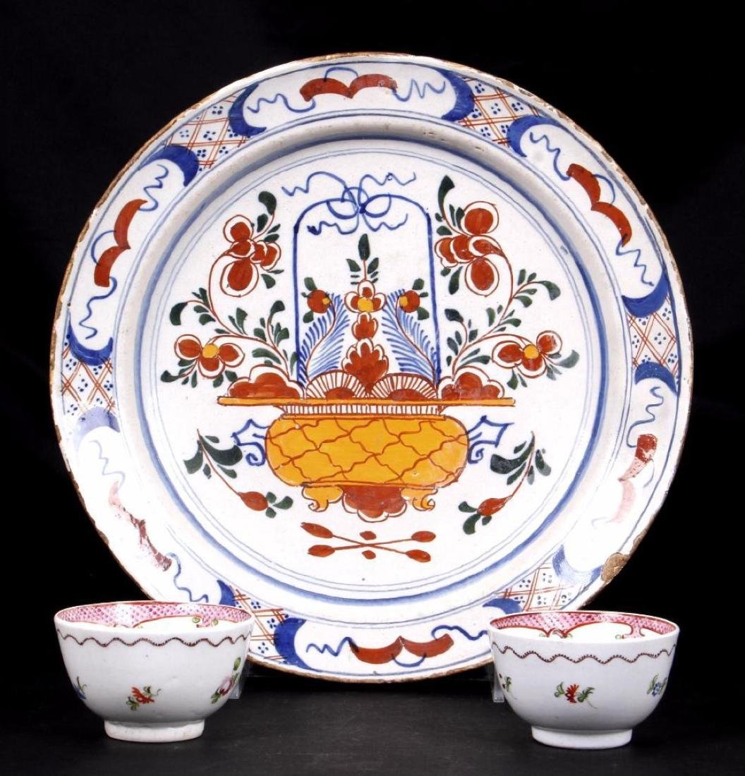 DUTCH DELFT PLATE & PAIR ENGLISH PORCELAIN TEA BOWLS