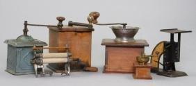 4 COFFEE OR SPICE GRINDERS, GEM WRINGER & POSTAL SCALES