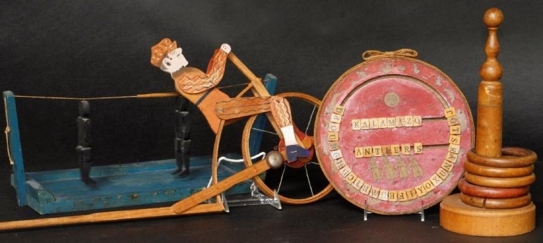 4 CARVED WOOD & PAINTED CHILDREN'S GAMES