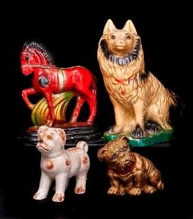 4 CHALK, TERRACOTTA OR COMPOSITION ANIMAL FIGURES