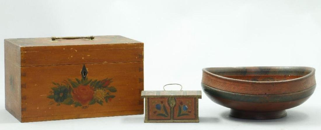 3 PAINT DECORATED WOOD BOXES & A TURNED WOOD BOWL