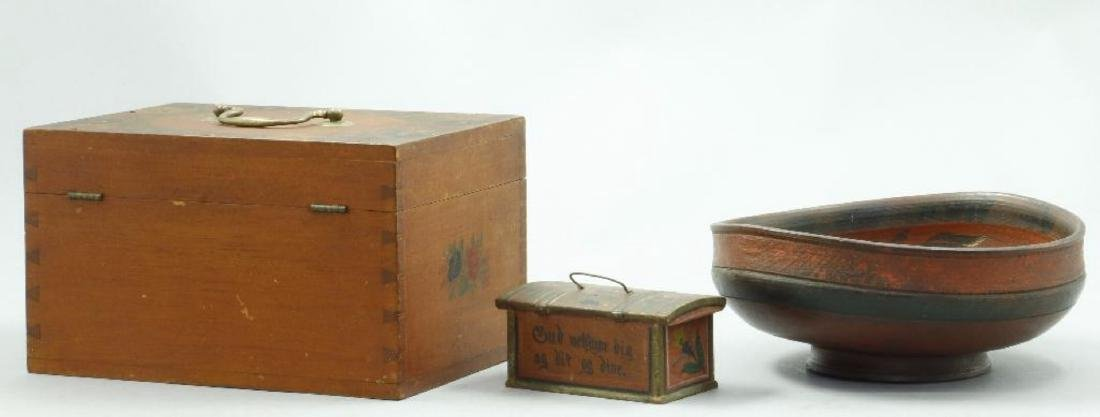 3 PAINT DECORATED WOOD BOXES & A TURNED WOOD BOWL - 2