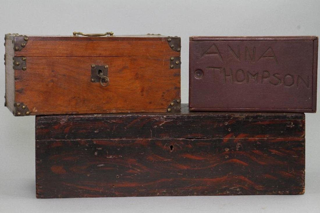 2 INSCRIBED AND 1 GRAIN PAINTED WOOD BOXES