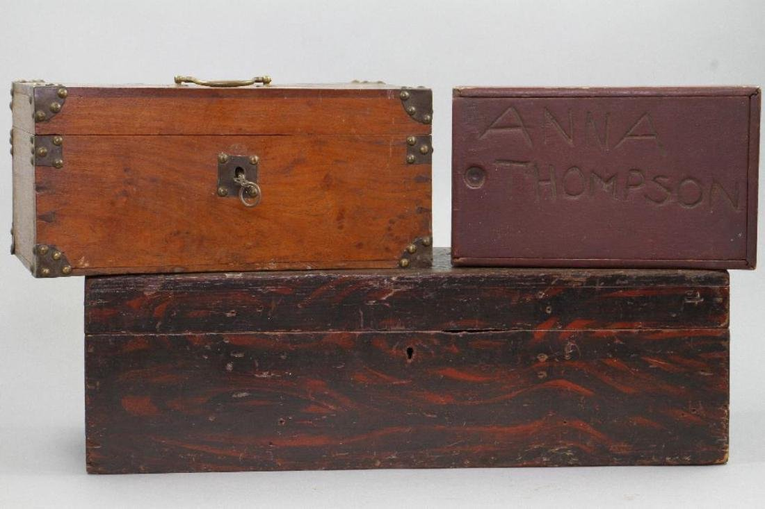 2 INSCRIBED AND 1 GRAIN PAINTED WOOD BOXES - 2
