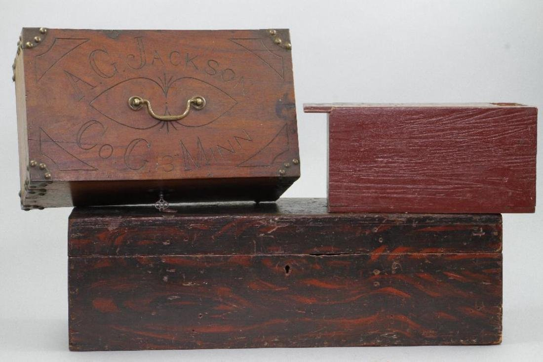 2 INSCRIBED AND 1 GRAIN PAINTED WOOD BOXES - 3