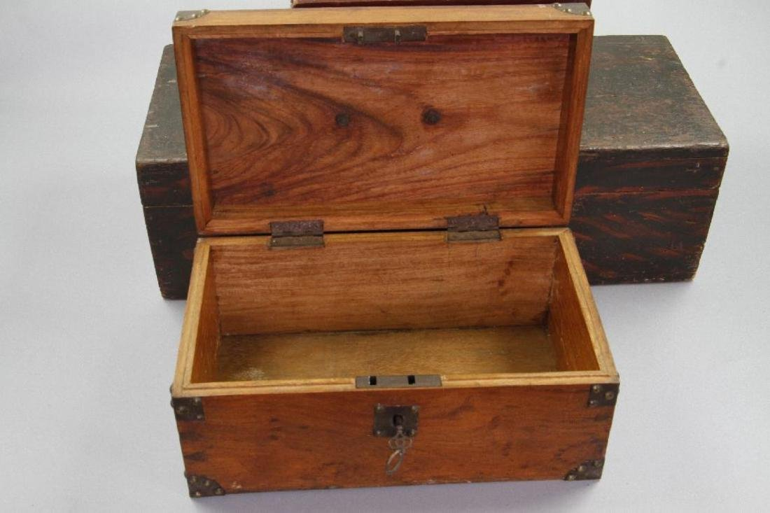 2 INSCRIBED AND 1 GRAIN PAINTED WOOD BOXES - 4