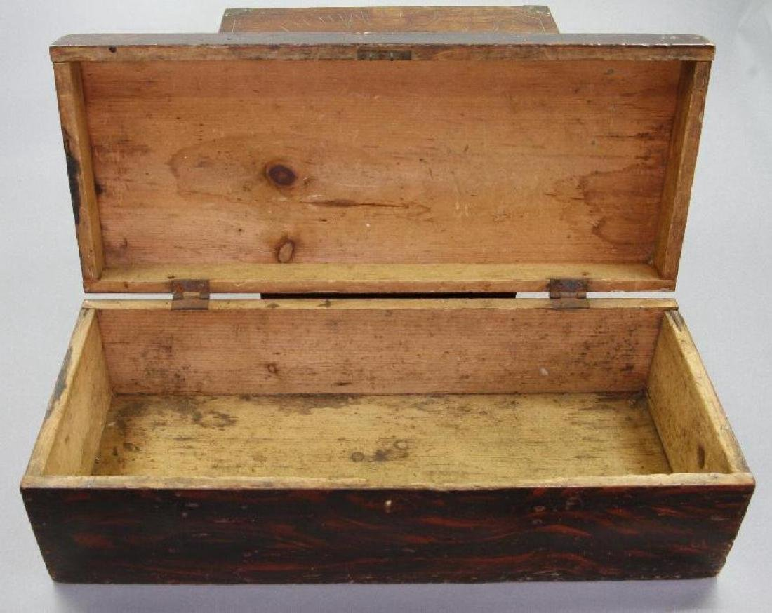 2 INSCRIBED AND 1 GRAIN PAINTED WOOD BOXES - 5