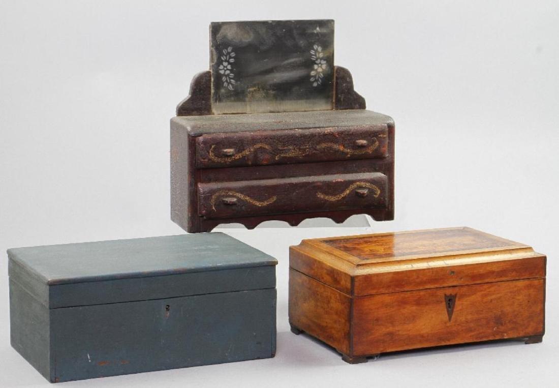 MINIATURE DRESSER, SEWING BOX & BLUE PAINTED BOX