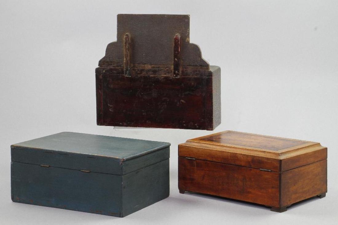 MINIATURE DRESSER, SEWING BOX & BLUE PAINTED BOX - 2