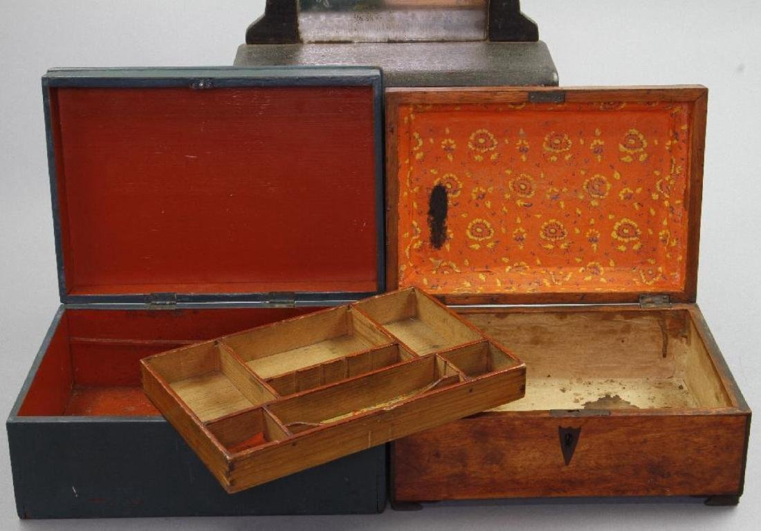 MINIATURE DRESSER, SEWING BOX & BLUE PAINTED BOX - 4