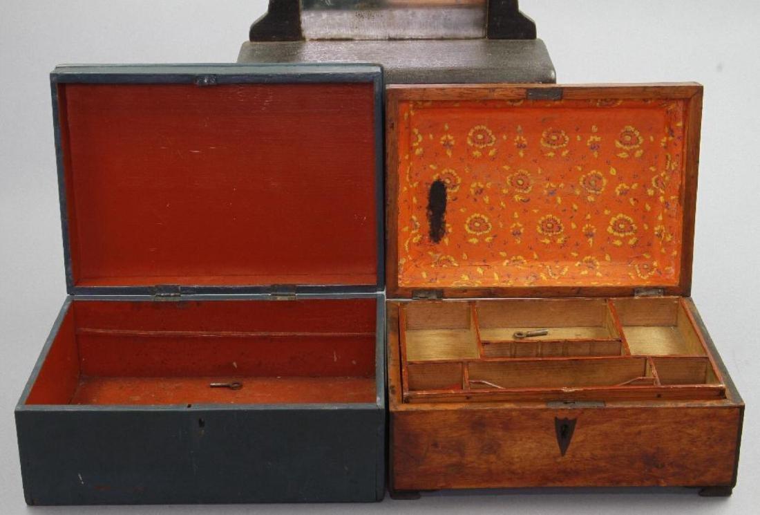MINIATURE DRESSER, SEWING BOX & BLUE PAINTED BOX - 5