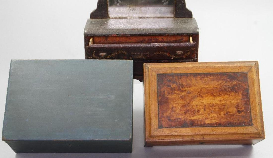 MINIATURE DRESSER, SEWING BOX & BLUE PAINTED BOX - 6