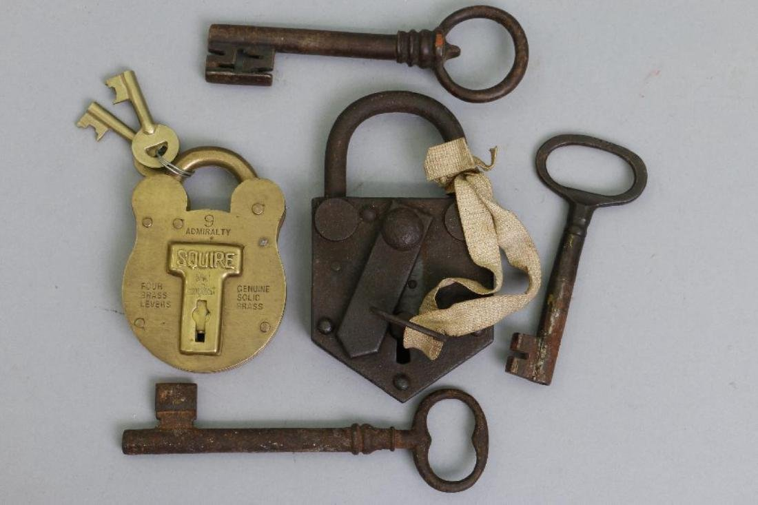 IRON PADLOCK, BRASS PADLOCK & 3 EARLY IRON KEYS