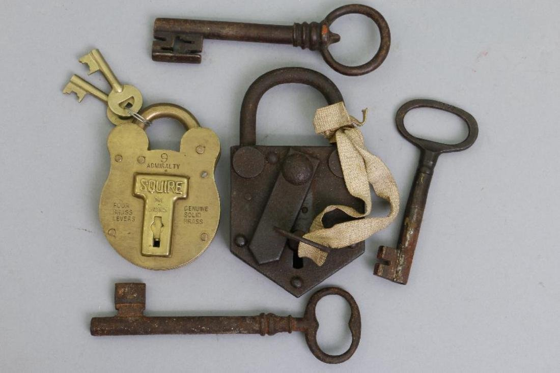 IRON PADLOCK, BRASS PADLOCK & 3 EARLY IRON KEYS - 2