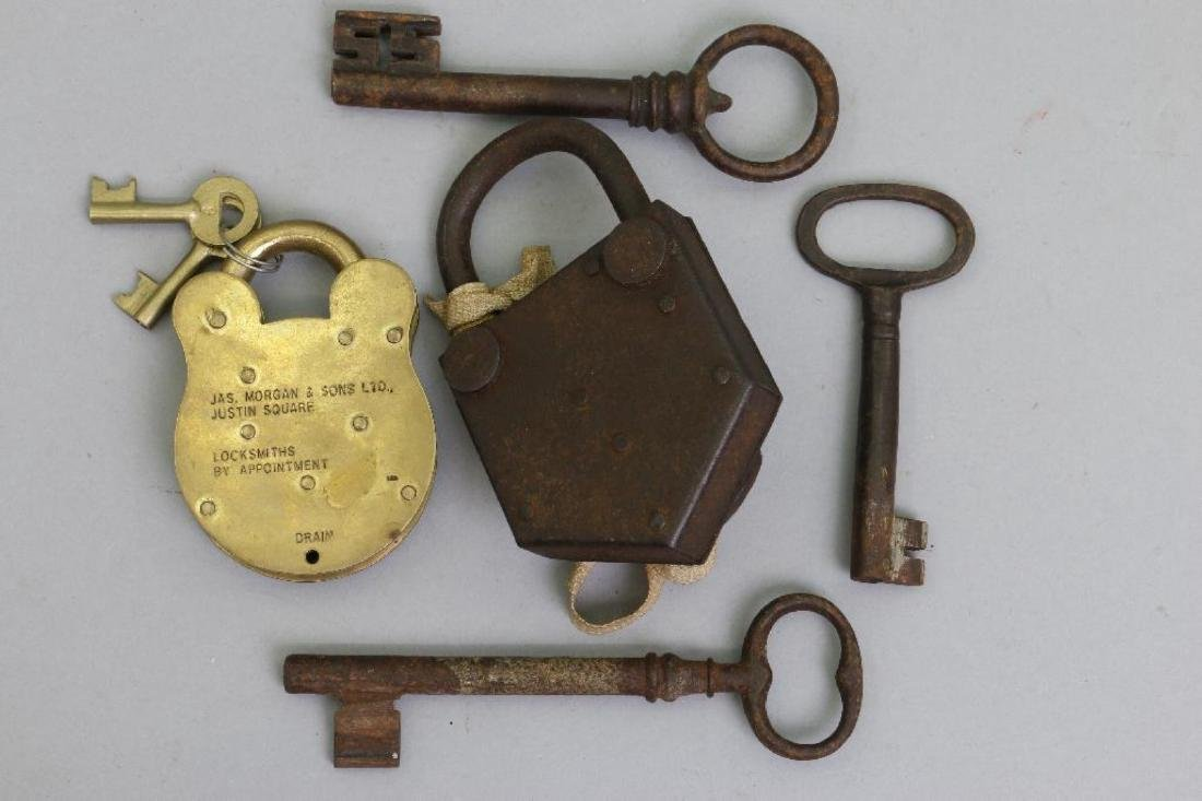 IRON PADLOCK, BRASS PADLOCK & 3 EARLY IRON KEYS - 3