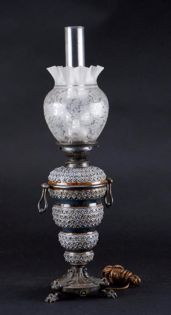 DOULTON SILVER PLATE MOUNTED OIL LAMP