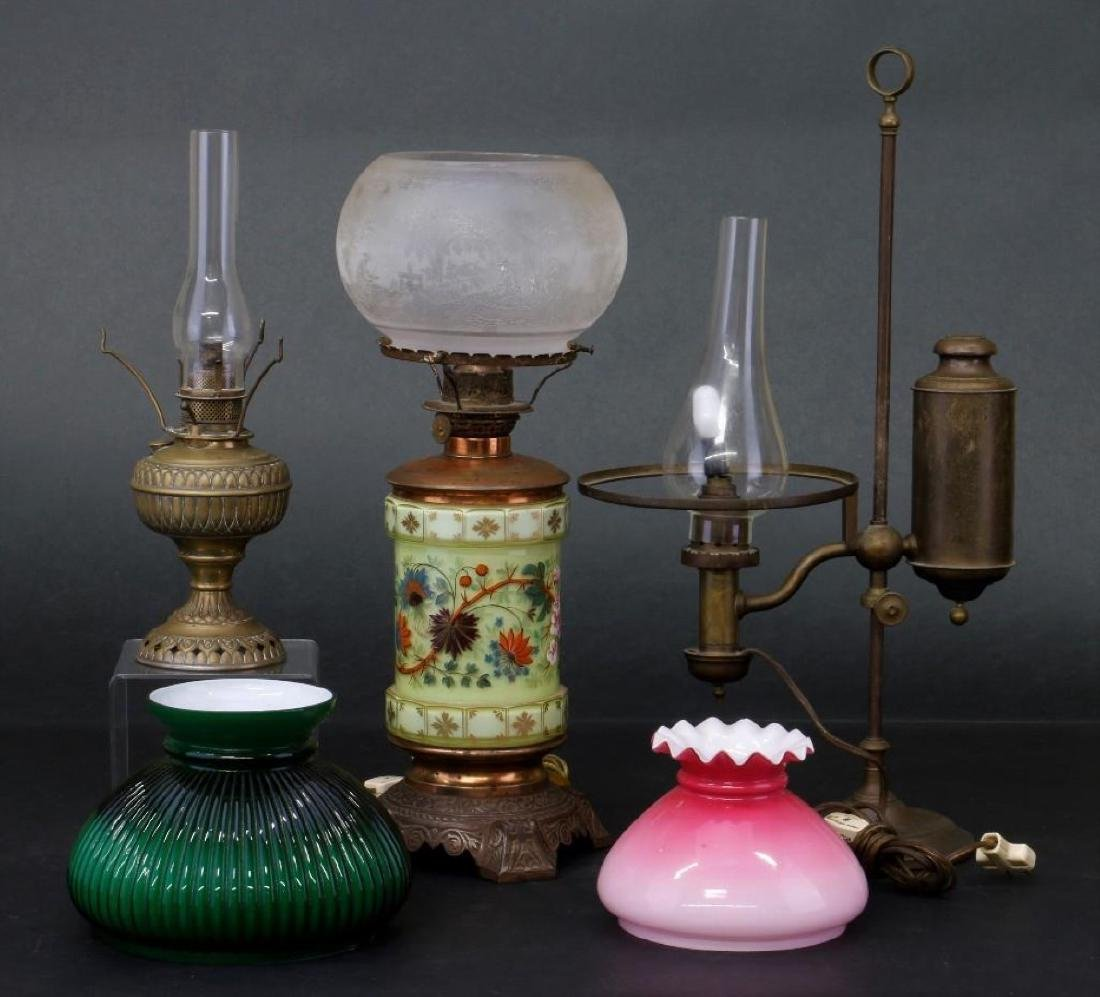 3 VICTORIAN OIL LAMPS