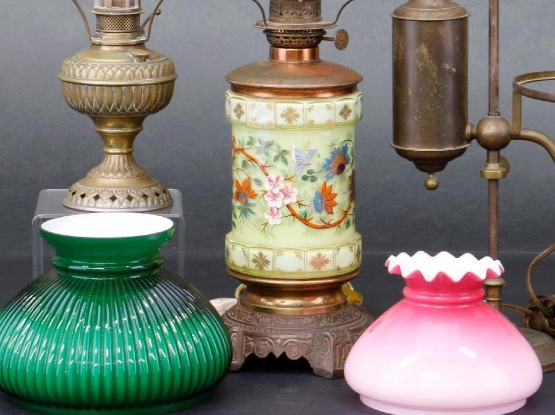 3 VICTORIAN OIL LAMPS - 2