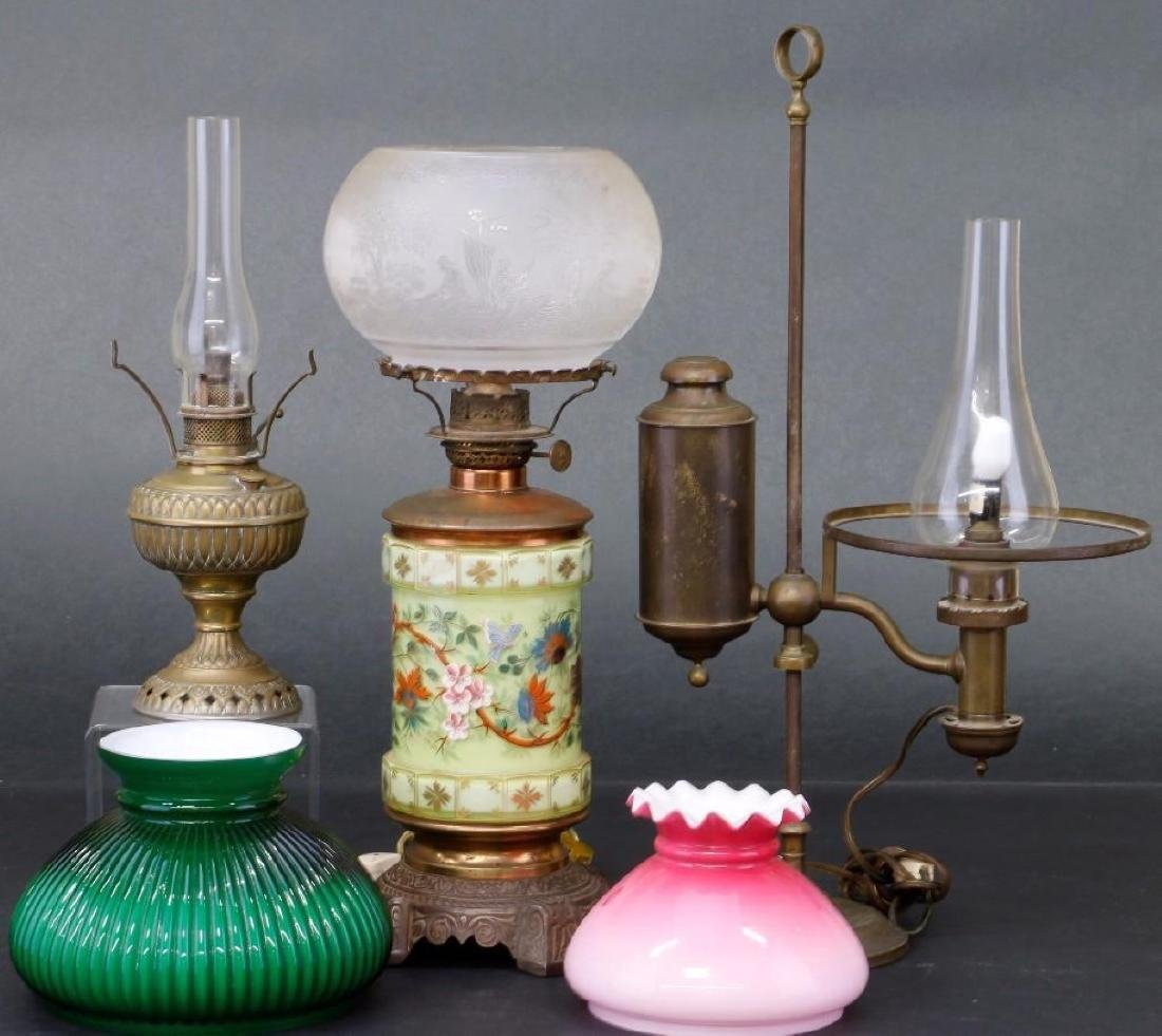 3 VICTORIAN OIL LAMPS - 3