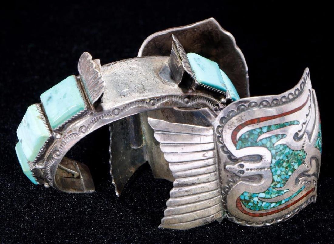 NATIVE AMERICAN TURQUOISE SILVER WATCH CUFFS