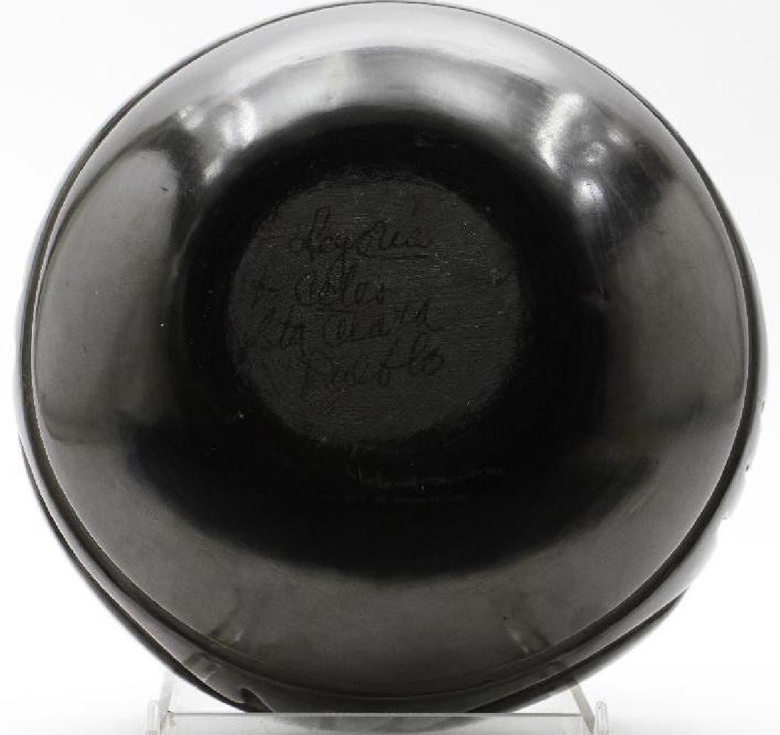 Santa Clara carved blackware pottery bowl - 5