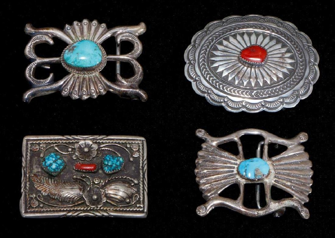 SOUTHWEST TURQUOISE & CORAL SILVER BELT BUCKLES