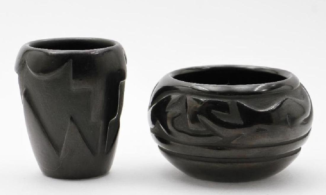 Two Santa Clara carved blackware pottery vessels