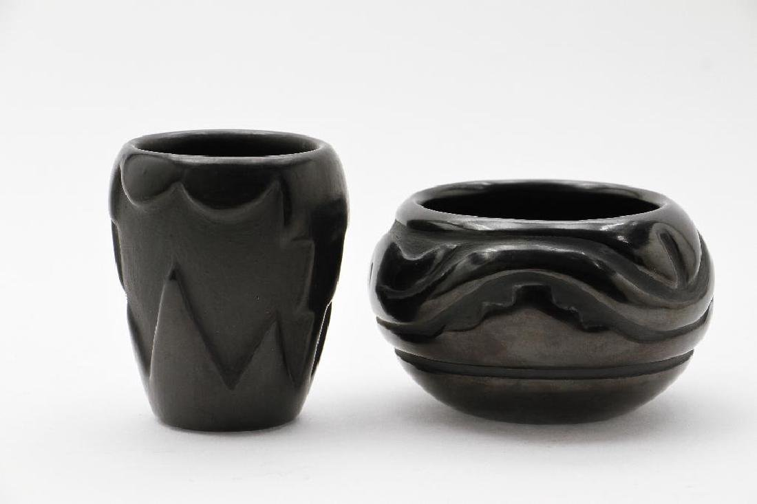 Two Santa Clara carved blackware pottery vessels - 2
