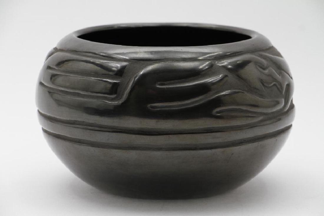 Santa Clara carved blackware pottery bowl
